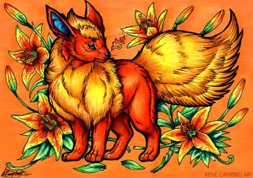 Evolve the Rainbow - Flareon by ReneCampbellArt