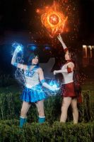 Sailor Mars and Sailor Mercury cosplay by selene-nightmare69
