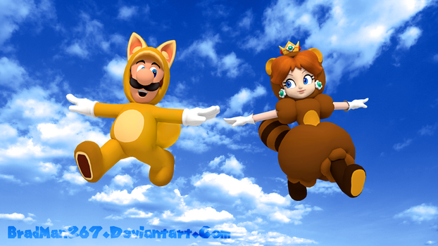 Fox Luigi and Tanooki Daisy by BradMan267
