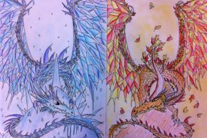 Icicle dragon and the Maple dragon by Viperwings
