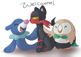 Welcome to the family! +Sun and moon starters+ by Dracini