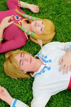 Zelda and Link Skyward Sword by LayzeMichelle