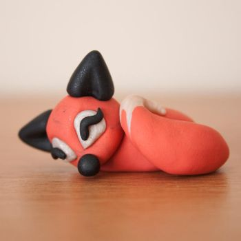 Sleeping Fox Polymer Figurine by tyxiaa