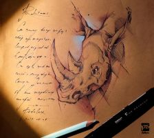 Rhino Sketch Drawing Psdelux by psdeluxe