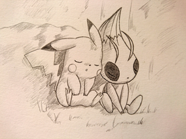 Pikachu and Celebi (Movie 4 - Voice of the Forest) by BluesyBenjii
