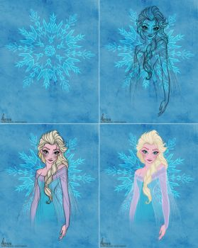 Disney's FROZEN - Queen Elsa Colour Sketch WIP by davidkawena