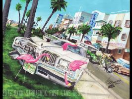 Miami Car Chase (1976 Oldsmobile Cutlass Painting) by FastLaneIllustration