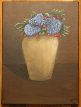 Blue and Red Flowers by ArtLover57