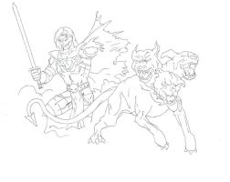 Cerberus drawing (a dog with 3 heads) by electronicdave