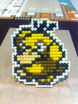 Psyduck cross stitch pin by fangy89