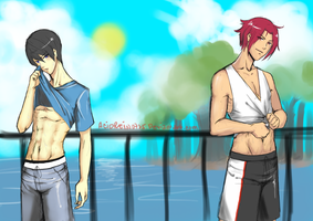 Free! Haruka and Rin jogging moments by AcidRein0725