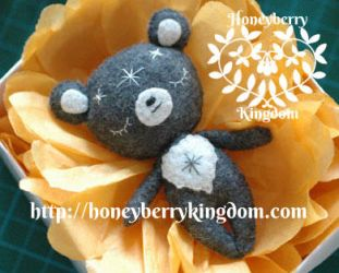 One of a kind bear felt plush by honeymil
