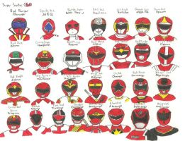 Super Sentai 29 Red Rangers by RJTH