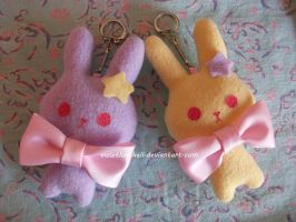 Pastel Bunny keychains by VioletLunchell