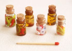 mini bottles - chili peppers, eyes, penne pasta by BadgersBakery