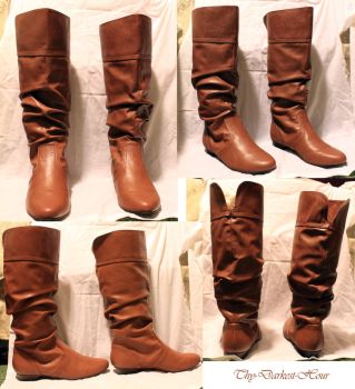 Brown Leather Boots by Thy-Darkest-Hour