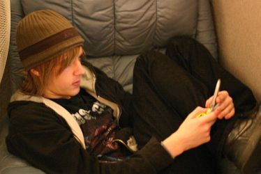 Justin Texting by claypole