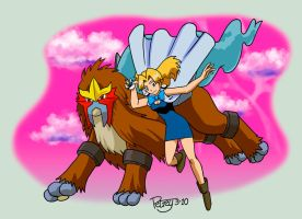 Molly Hale and Entei by WillPetrey