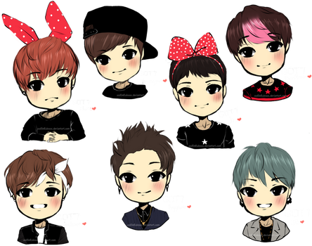 Chibi GOT7 Sketches by Rinspirit-Art