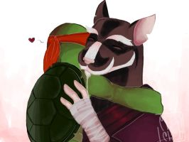 Splinter with turtle tot Raph :D by ChiiChii97