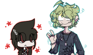(art collab) maki and rantaro by greenwolfy-tea