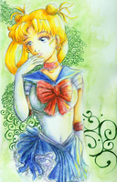 Watercolor Pencil Sailor Moon by It-is-a-circle