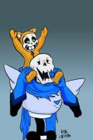 Smol dimension Sans and  MonofellPaps by catgir