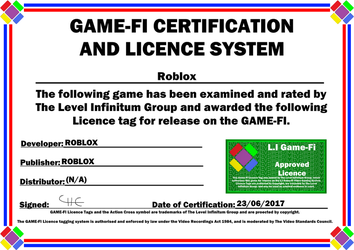 Roblox Game-Fi Phase Two Certificate by LevelInfinitum