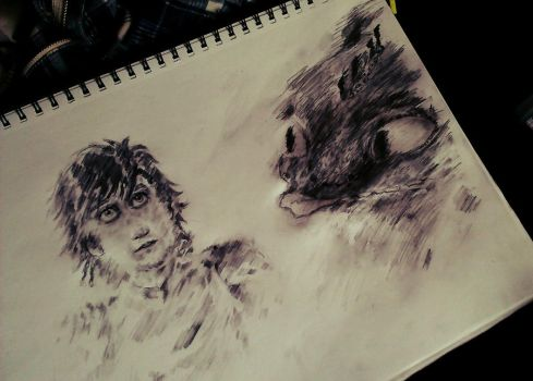Hiccup + Toothless Sketch by The-Stage-Name