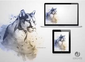 Watercolor Mountain Lion by valhadar