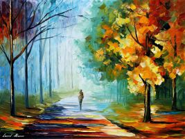 Alone In The Fog by Leonid Afremov by Leonidafremov