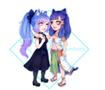 Chibi style 1 Commission Couple for kleokatra96 by AruOwlsArts