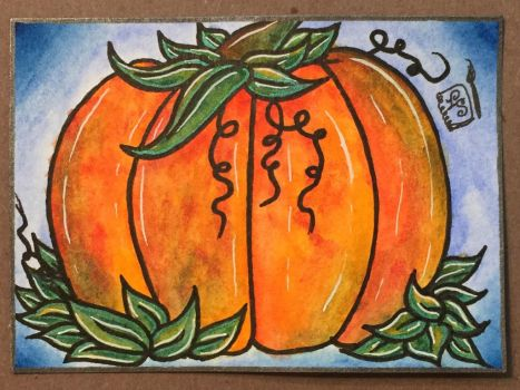 Pumpkin - MMH Stained Glass Look ATC by ParadoxSketchbook