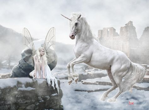 The fairy the skull and the unicorn by Julianez