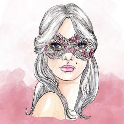 Masked Girl Colour New Year Clipart by GirlinDesign
