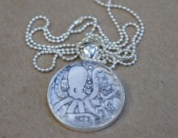 Black and White Octopus Pendant by Sacari