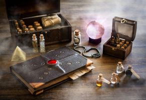 Spellbook and magic potions by GreatQueenLina