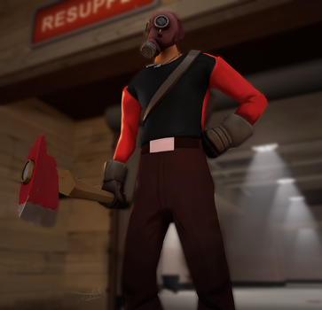 (SFM) When the scout decide to be a pyro by CobaltDrawing