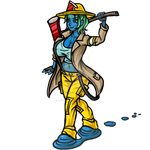 Firefighter Undine Standing with her Axe by phoenixignis