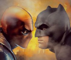Batman vs. Deathstroke by arissuparmanart