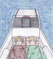 America and England Camping in Back of Truck by outlire