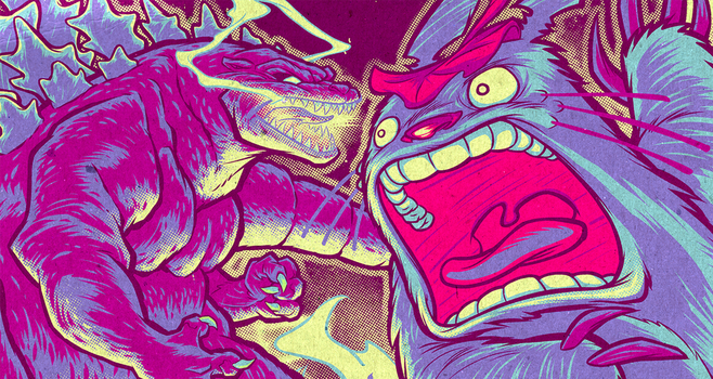 GODZILLA VS. TOTORO final color detail by pop-monkey
