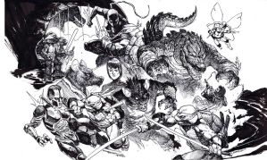 Tmnt Ultimate Monster Island cover Bw by dogmeatsausage
