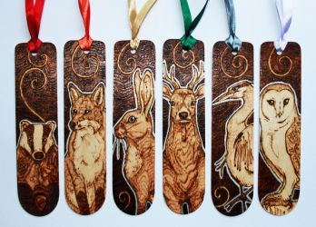 Pyrography - British Animal Bookmarks by BumbleBeeFairy
