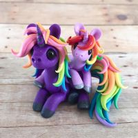 Mama and Baby Rainbow Unicorns by DragonsAndBeasties