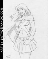 Miss Martian Young Justice tugging down on belt by SatyQ