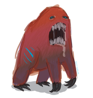 toothy red monster by ynthamy