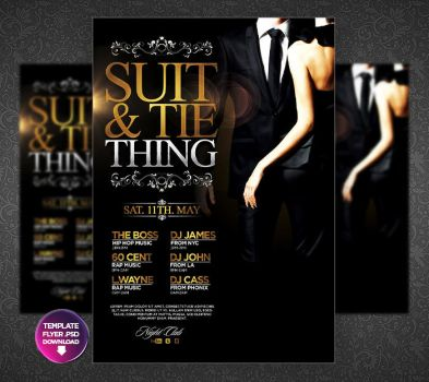 Suit and Tie - The Party Flyer Template by Grandelelo