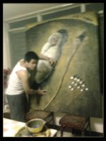 Me working on a painting by gromyko