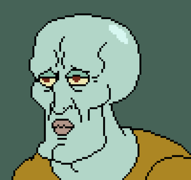Pixel Handsome Squidward by SethMasonry